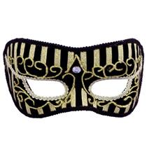 Black and Gold Striped Oriental Venetian Mask Mardi Gras Masquerade