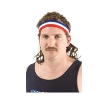The Bobcat Red White Blue Headband with Wavy Mullet Hair Mullet on the go Funny