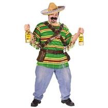 Tequila Pop 'N' Dude Humorous Plus Size Adult Costume with Sombrero Mexican
