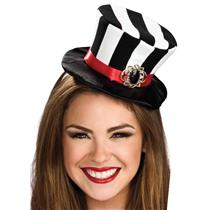Black and White Striped Gothic Mini Top Hat with Medallion Headband