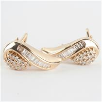 Ladies 14k Yellow Gold Baguette & Round Cut Diamond Huggie Earrings .90ctw