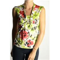 L NWT Libra White Red Green Snake Serpent Pendant Sleeveless Blouse Top 10008