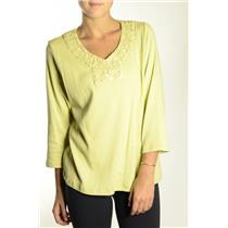 XL NWT Madison Hill Green 3/4 Sleeve Rossette Collar Pearlized Bead Knit Top