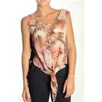 L NWT OXMO Trudy Sleevless Feather Print Chiffon Tank Top Blouse Tie Front Hi-Lo