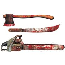 Bloody Weapon Cutouts Paper Chainsaw, Axe, Machete