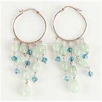 Ladies 14k White Gold Briolette Cut Jade & Blue Stone Hoop Earrings