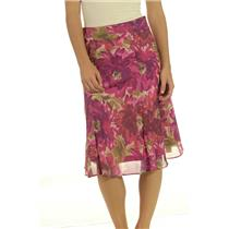 NWT Madison Hill Bright Pink Purple Floral A Line Side Zip Lined Spring Skirt