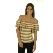 XS LaRok Striped Pom Pom Fiesta Off Shoulder Ruffle Sweater White/Seashell Tan