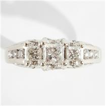 Ladies 14k White Gold Three-Stone Diamond Engagement Ring W/ Accents 1.91ctw