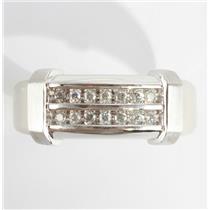 Men's 10k White Gold Round Cut Diamond Two-Row Wedding Band / Ring .25ctw