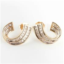 Ladies 14k Yellow Gold Round Cut Diamond Huggie Hoop Earrings .56ctw