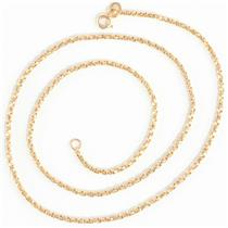 "Unisex 14k Yellow Gold Twisted Box Chain Necklace 18"" Length"