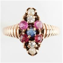 Ladies Vintage 1920s 14k Rose Gold Diamond / Sapphire / Ruby / Pearl Ring .52ctw