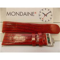 Mondaine Swiss Railways Watch Band 22mm Red Lizard Grain Strap W/Butterfly Clasp