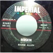 """RICHIE ALLEN redskin / stranger from durango 7"""" VG+ X5683 Vinyl 45 Record"""