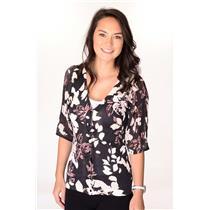 XS Charlotte Tarantola Black/Mauve Foral Print Cardigan Light Sweater Pointelle