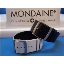 Mondaine Swiss Railways Watch Band 24mm Reversible Black/White 1 Piece LoopThru