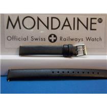 Mondaine Swiss Railways Watch Band 12mm Black Extra Long Ladies Leather Strap