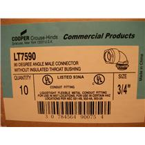 "Cooper LT7590 - 3/4"" 90* Male Connector Without Insulated Throat Bushing"