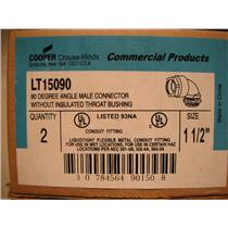 """Cooper LT15090 - 1 1/2"""" 90* Male Connector Without Insulated Throat Bushing"""