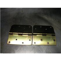 "(2)  4"" Stanley  Spring Hinge  Combination Corners Brushed Brass Finish"
