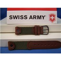 Swiss Army Watch Band Cavalry Ladies 16mm Nylon Green, Brown Leather. w/Rivets