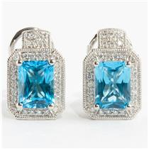 Ladies 18k White Gold Blue Topaz Solitaire Earrings W/ Diamond Accents 4.29ctw