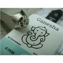 """""""Ganesha"""" 1/4""""-6mm-Large Stamp-Metal-Hardened Steel-Gold & Silver Bar"""
