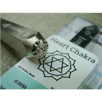 """Heart Chakra"" 1/4""-6mm-Large Stamp-Metal-Hardened Steel-Gold & Silver Bar"