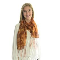 "NWT Boutique Sheer Chiffon Wrap Scarf Gold/Auburn Floral Gold Leaf 21"" x 56"""