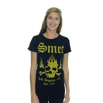 NEW Authentic Smet Christian Audigier Ladies Black Flaming Skull Logo T-Shirt