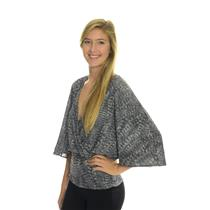 NEW Sweet Pea by Stacy Frati Grey Feather Print V-Neck Empire Dolman 3/4 Top