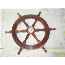 "Boaters' Resale Shop Of Tx 1.77 SH4865 24"" SHIP'S WHEEL WITH CLOCK"