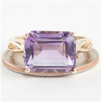 "Ladies 14k Yellow Gold Emerald Cut ""AA"" Amethyst Solitaire Ring 5.82ct"