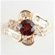 Ladies 14k Yellow Gold Round Cut Rhodolite Garnet & Diamond Cocktail Ring 1.5ctw
