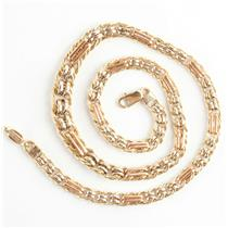 Stunning 18k Yellow / White / Rose Gold Three-Tone Fanamo Italian Chain Necklace