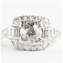Ladies Vintage 1930's Platinum Old European Cut Diamond Engagement Ring 1.89ctw