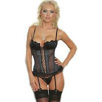 Black Corset Thong & Stockings Sexy Lingerie Set Size 36