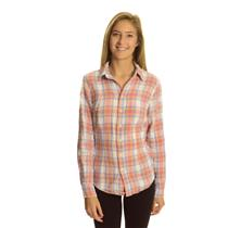 XS Shirt By CP Shades Orange Pink White Button Down Long Sleeve Plaid Woven Top