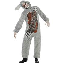 Men's Roadkill Costume Furry Gray Jumpsuit with Bloody Tire Mark and Headpiece