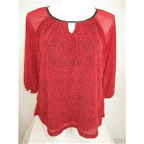 Apt 9 Size 1X Red 3/4 Raglan Sleeve Herringbone Peasant Style Top with Lining