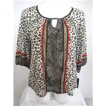 Apt 9 Plus Size 3/4 Raglan Sleeve Mistos Tan Peasant Style Top with Lining
