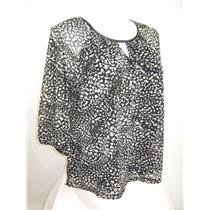 Apt 9 Plus Size 3/4 Raglan Sleeve Splash Dot Tan Peasant Style Top with Lining