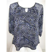 Apt 9 Plus Size 3/4 Raglan Sleeve Splash Dot Blue Peasant Style Top with Lining