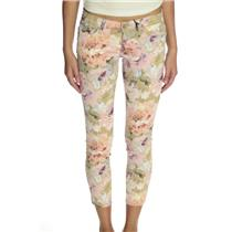 NWT Klique B Pink/Beige Watercolor Flower Print Cropped Skinny Jeans Stretch