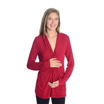 M Motherhood Maternity Red Jersey Rayon/Spandex Top w/Plunging Neck Twist Front