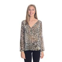 L Zara Trafaluc MMXll Collection Snakeskin Blouse Long Sleeve Sheer Silk Chiffon