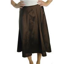 12 NWT KM Collection Taffeta Chocolate Brown Formal Calf Length A Line Skirt