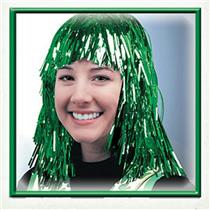 Green Tinsel Wig St. Patricks Day Mardi Gras