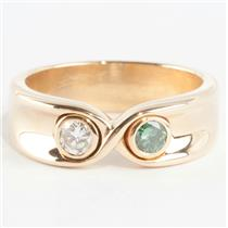 Ladies 14k Yellow Gold Diamond & Blue Diamond Eternity / Infinity Ring .30ctw